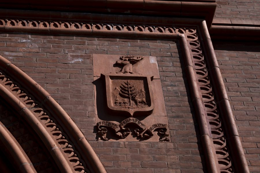 Vermont's seal is depicted on the outside of the building.