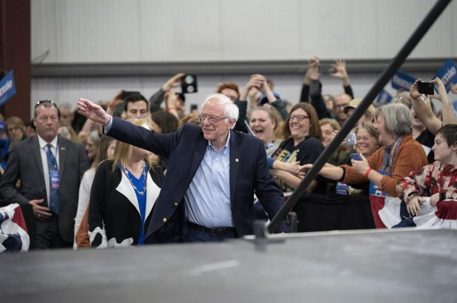 Sen. Bernie Sanders takes the stage in Essex Junction, March 3, 2020.