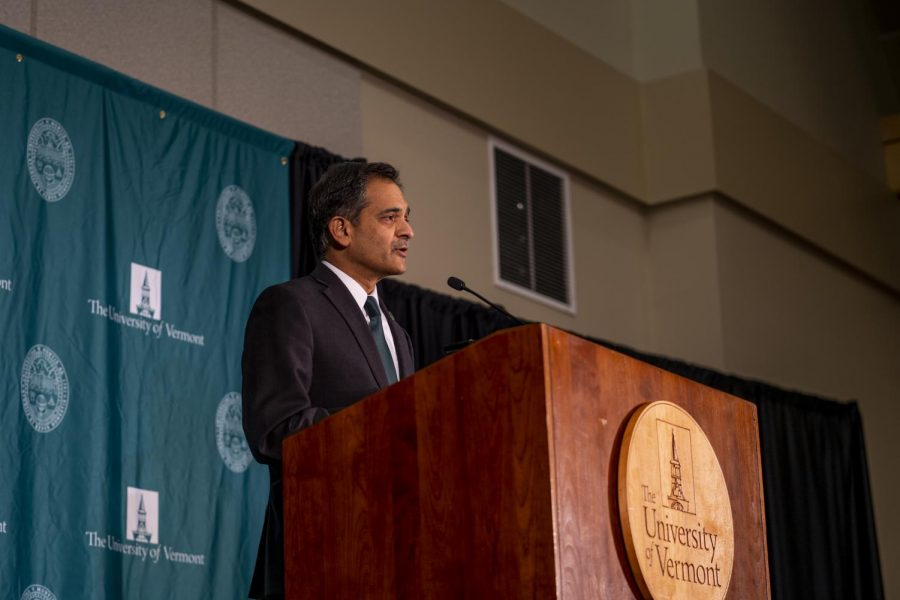 UVM President Suresh Garimella addresses a gathered crowd of media and UVM community members at press conference Nov. 14, 2019.