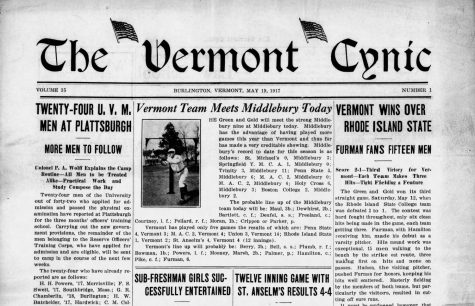Top fold of the front page of the Vermont Cynic from May 19, 1917. The Cynic reported that the first ever orientation-like event for Vermont high school women had been held at UVM.