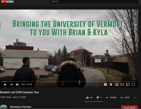 Two Advocat tour guides give a virtual tour to prospective students. UVM's campus remains closed except for essential operations due to the COVID-19 pandemic.