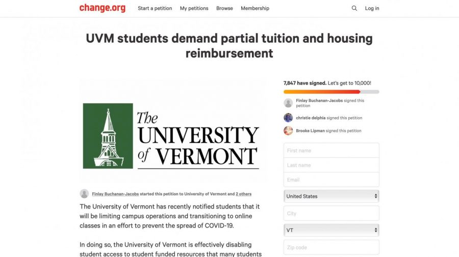 Sophomore Finlay Buchanan-Jacobs created a petition demanding partial student reimbursement for housing and tuition. As of April 21, the petition has more than 7,800 signatures.
