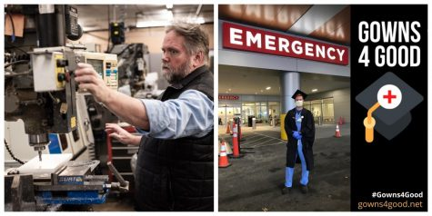 From emergency ventilators to personal protective equipment, members of the UVM community have stepped up to aid in the fight against COVID-19. Left, a portion of an emergency ventilator is made (Photo by Ian Thomas Jansen-Lonnquist). Right, Than Moore stand in front of the UVMMC Emergency Room (Photo by Taran Catania SI-MBA'20).
