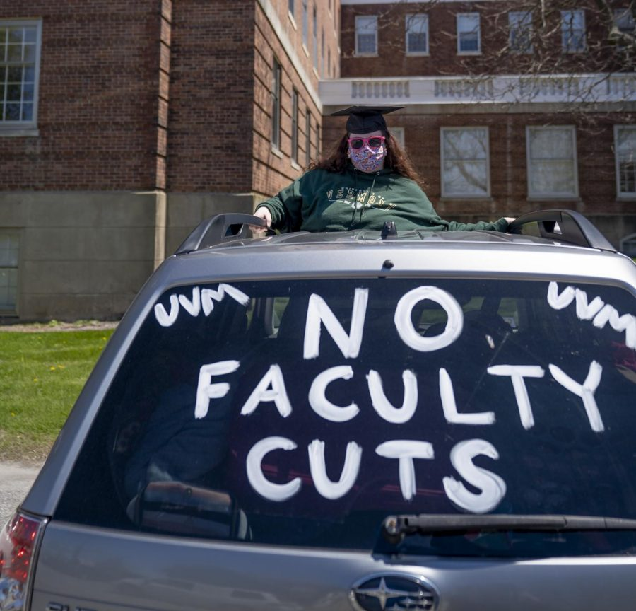 A UVM student shows their solidarity with protesting faculty members May 14, 2020.