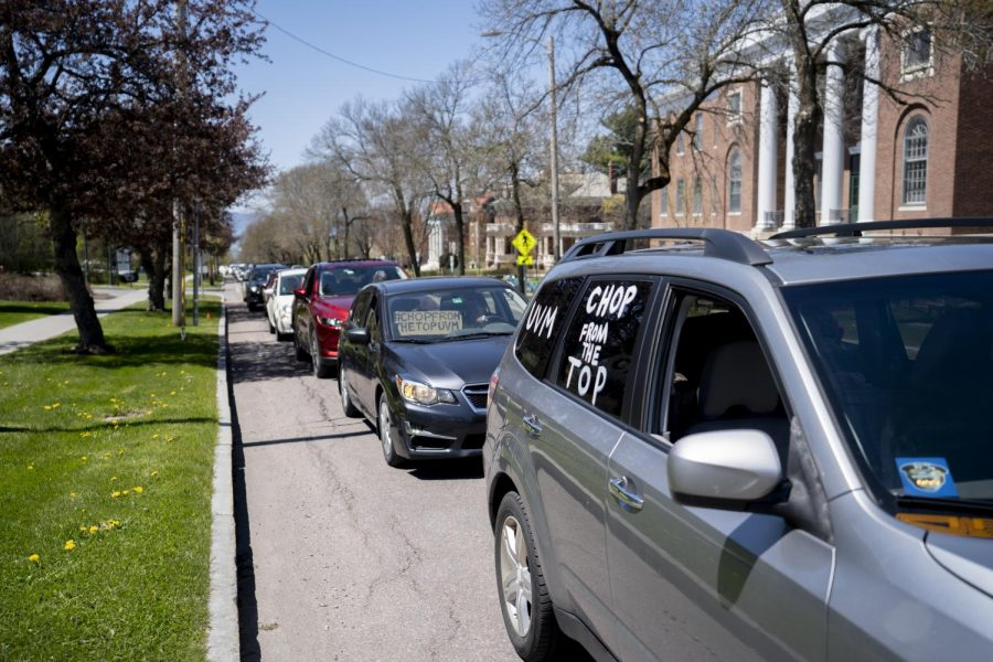Protestors in their cars line College Street May 14, 2020.