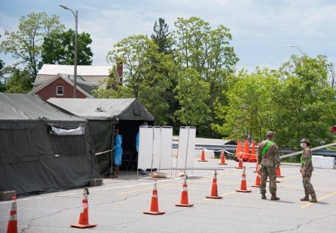 COVID-19 testing site set up by the national guard to the right of the Waterman building June 4.