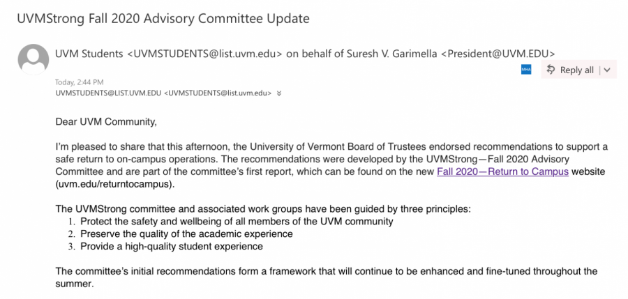 Screenshot of email from Surseh Garimella
