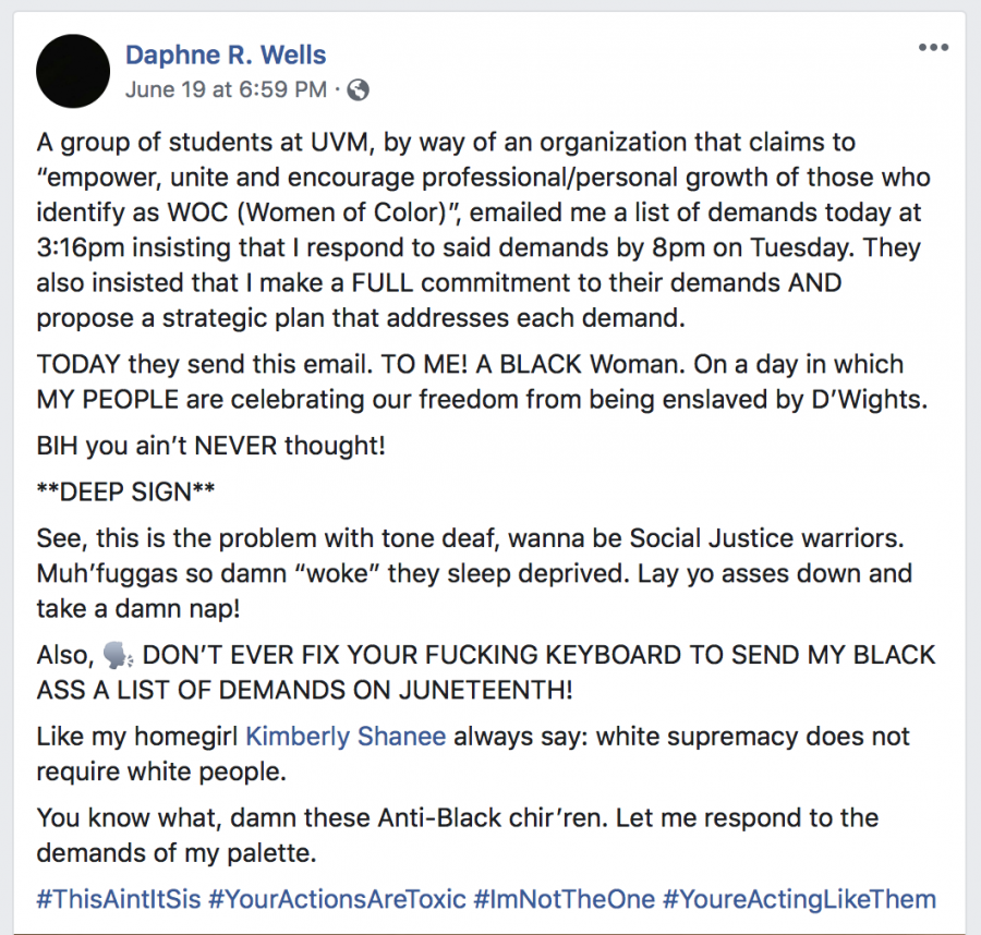 Director Of Student Life Posts Harsh Words About Student Activists On Facebook The Vermont Cynic