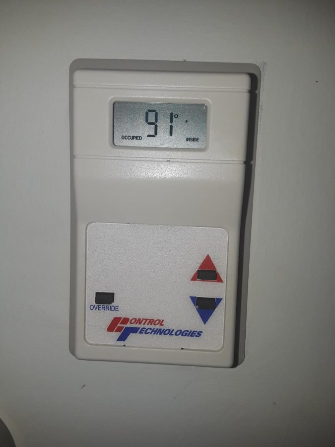 Shrestha''s thermostat labeling the hot temperatures of the room.