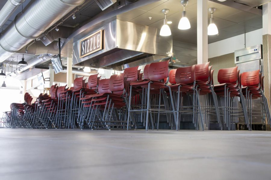 Central Campus dining prepares for social distanced dining by removing many seating options Aug 14.
