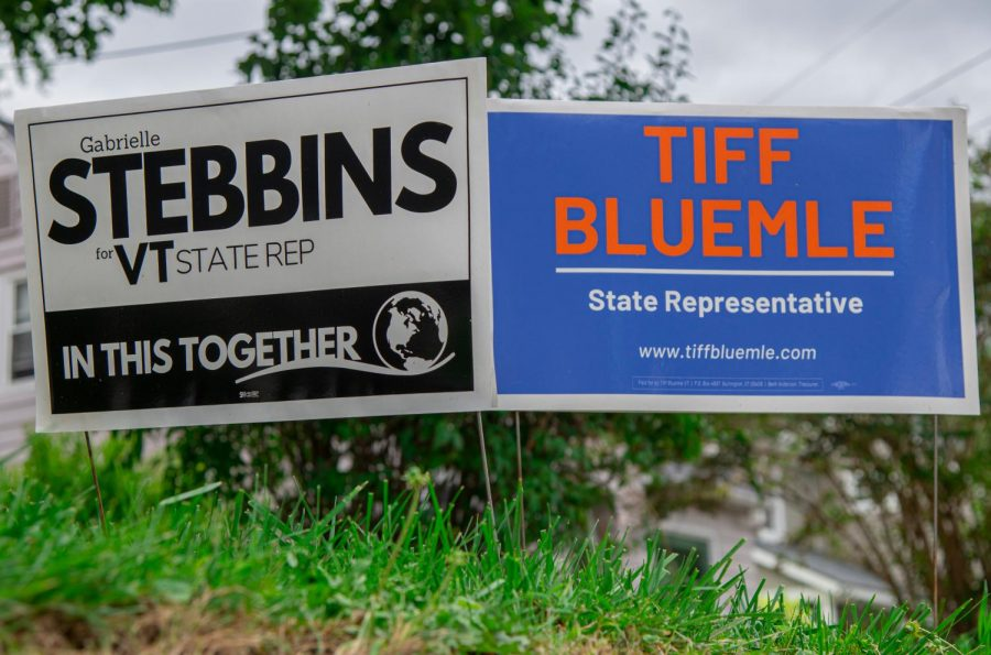 Stebbins' and Bluemle's campaign signs sit next to each other on Locust Terrace, a street they both live on. Aug 3.