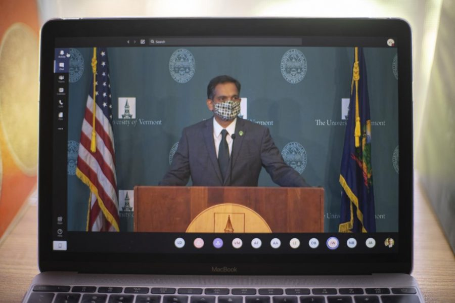 UVM's President Suresh Garimella wears his mask while he waits for the press conference to begin, Aug. 18.