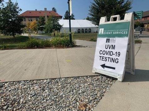 A sign directs students to testing Sept. 25.
