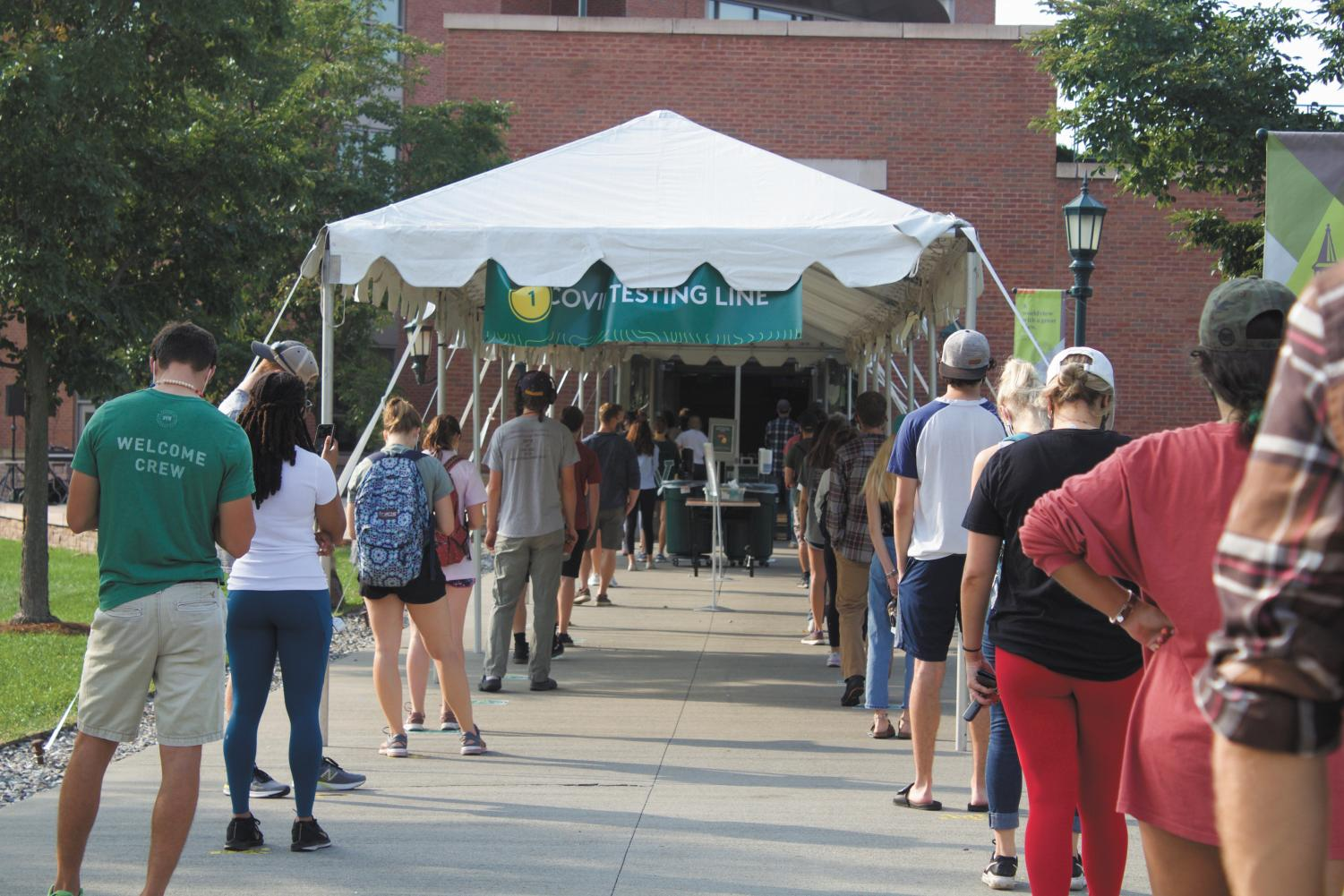 UVM students stand in a long line outside of the Davis center Covid testing site, Sept. 10