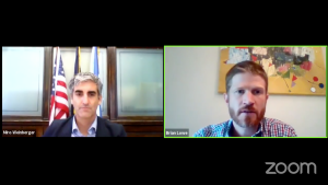 Mayor Miro Weinberger (left) and Brian Lowe, Burlington's Chief Innovation Officer (right), discuss UVM's disciplinary policies for breaking COVID-19 rules during a Sept. 2 press briefing over Zoom.