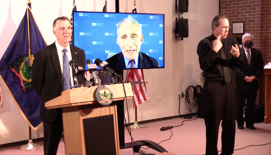 Dr. Anthony Fauci joined Vermont Gov. Phil Scott's coronavirus press briefing Sept. 14, where he applauded the state's low COVID-19 positivity rate.