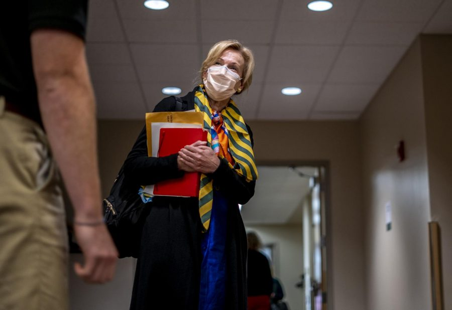 Dr. Deborah Birx speaks with a student before exiting the Grand Maple Ballroom Oct. 10.
