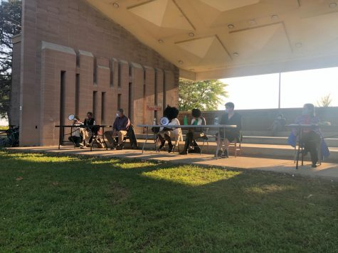 Panelists from the Burlington and UVM community discuss environmental racism at a Battery Park event Sept. 21.