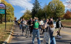 Students march down Main Street during the climate strike Oct. 23.