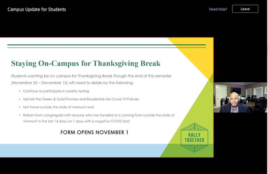Executive Director of Residential life Rafael Rodriguez presents options for student wishing to stay on campus during Spring Break, over Teams Oct. 12.