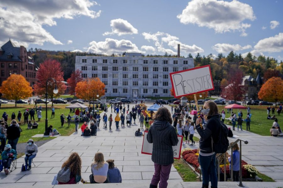 """RIGHT: Hundreds of people from across the state gathered in Montpelier Oct. 17 for the """"Womxn and Femme March."""" The event was intentionally held alongside women's marches across the country to advocate that the movement needs to be more inclusive of BIPOC voices."""