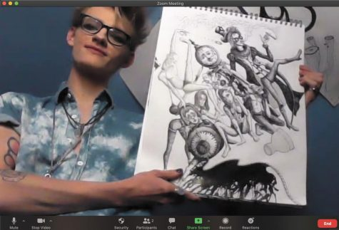 Senior Cole Thorton shows one of his drawings via Zoom call, Oct. 9. Thorton is enrolled in a fully online advanced drawing course along with a hand building hybrid course.