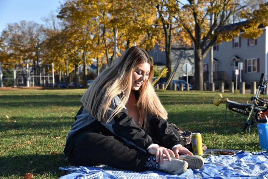 Hannah Rose Arafeh poses in Roosevelt Park, Nov. 8.