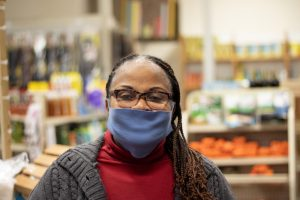 Patience Bannerman, the owner of the market, seen inside her store.