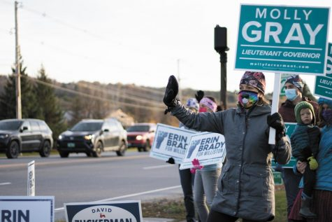 Candidate for Lieutenant Governor of Vermont, Molly Gray, stands with a group of supporters on the corner of Marshall Ave. and St. George Rd. in Williston, VT, Oct. 30.