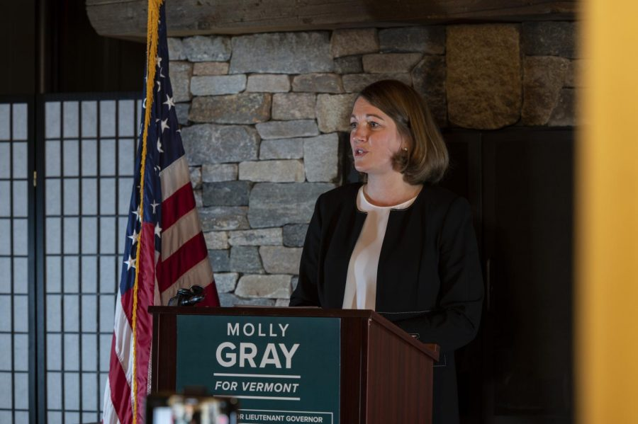 Molly Gray delivers a victory speech from a podium inside the Great Northern, a Burlington restaurant, Nov. 3. Gray smiles as she delivers the speech to the press and assembled supporters.