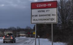 The state installed COVID-19 sign stands off of exit 14E to let out-of-state travelers know the Vermont guidelines for COVID Jan. 25. A 14 day quarantine is required of all out-of-state travelers among other safety precautions.
