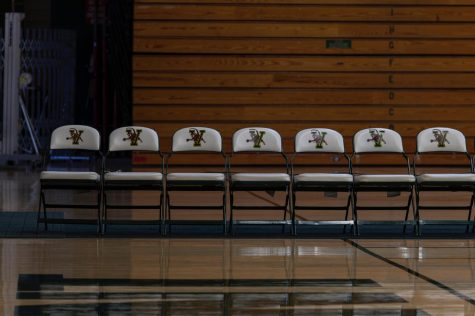 Empty seats line up on the side of UVM's Patrick Gymnasium Jan. 28. All UVM winter sports have been postponed until Feb. 4. as of Jan. 22.