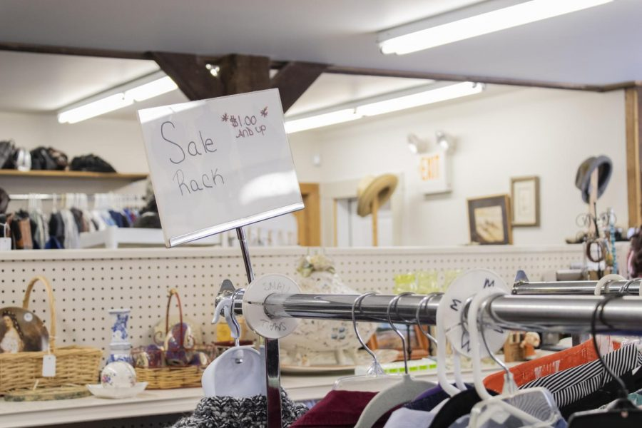 A sign inside of Shalom Shuk, a thrift store located in a historic barn behind the Ohavi Zedek Synagogue on 188 North Prospect Street, shows shoppers there is a sale Feb. 4. Founded in 1855 the Ohavi Zedek Synagogue is Vt.'s oldest and largest Jewish congregation.