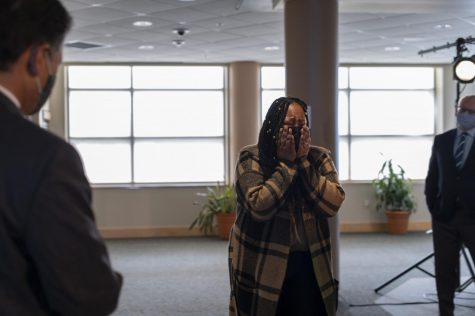 Dr. Wanda Heading-Grant, UVM's Vice President for Diversity, Equity and Inclusion reacts to the new exhibit for Celebrating Diverse Voices at UVM Feb. 10. The exhibit, dedicated to Dr. Heading-Grant can be found on the fourth floor of the Davis Center.