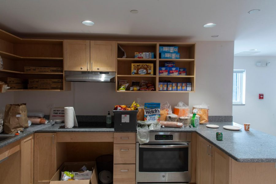 The Slade Hall kitchen is stocked with a variety of snacks and foods for students to eat while they are in quarantine.