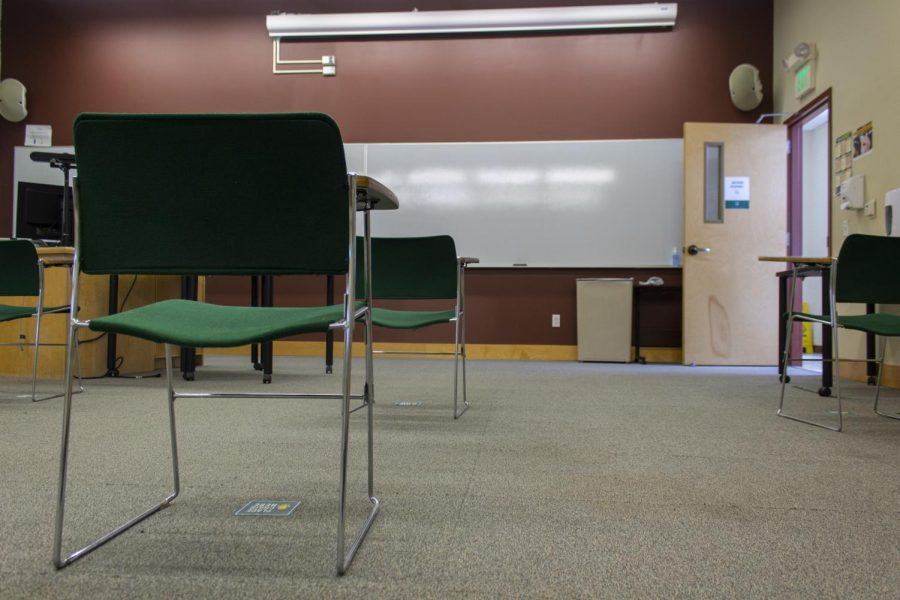 An empty geology classroom in Perkins hall has chairs socially distanced Feb. 19. Many of the geology classrooms were locked and all were empty.