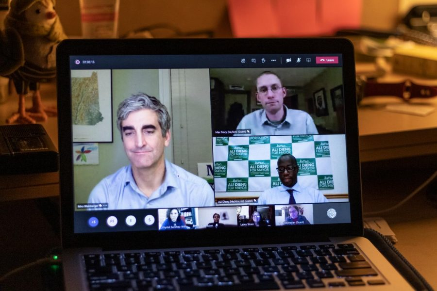 The 2021 mayoral candidates meet virtually for a Teams event hosted by UVMs Leadership Learning Community.