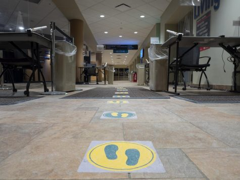 Colorful decals lead students through the check-in line and to the testing area Feb. 15.