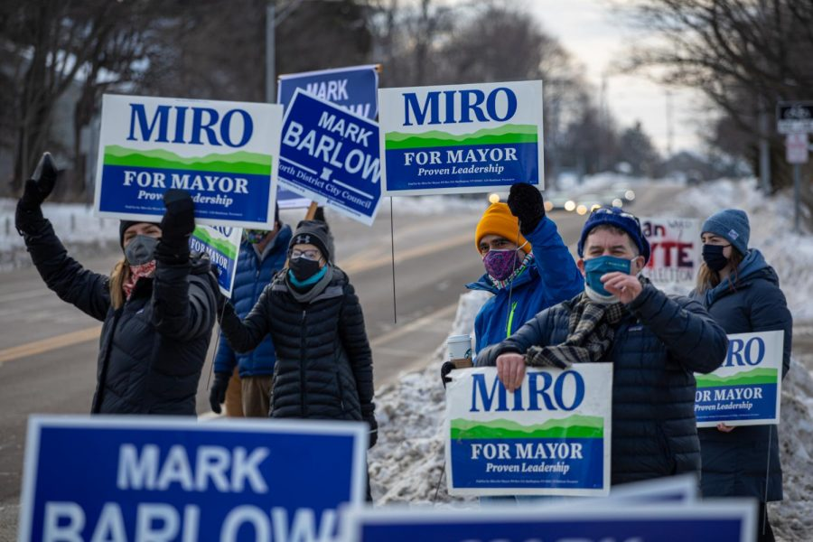 """Miro supporters gather on North Ave during a """"honk and wave"""" in support of Miro Weinberger Feb. 19."""
