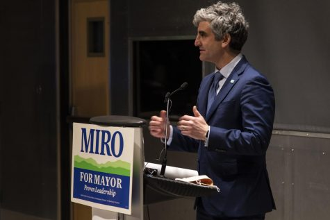Mayor Miro Weinberger delivers his victory speech inside the Echo Leahy Center for Lake Champlain March 3.