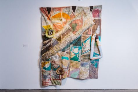 Meg Lipke, Ground for Body, 2019, 72x60x5, Fabric dye, acrylic, beeswax on canvas, and polyester fill, Photo by Sam Simon