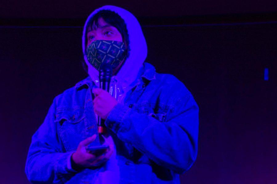 Junior Ariel Tubbs reads Supremacy by Ariana Brown during Acción Poética Feb. 24.