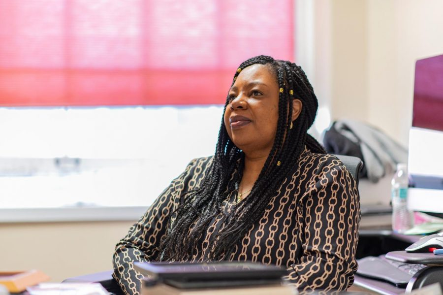 Wanda Heading-Grant, vice president for diversity, equity and inclusion, sits in her office in the Waterman building.