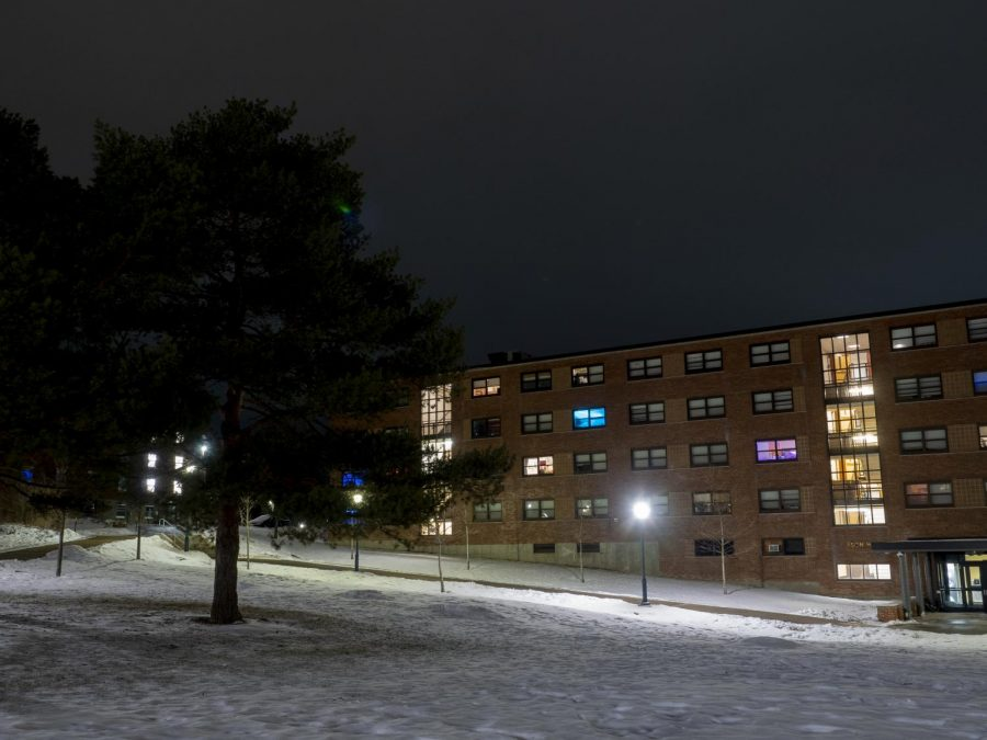 A few lights light up the inside of Mason Hall on Redstone Campus March 3.