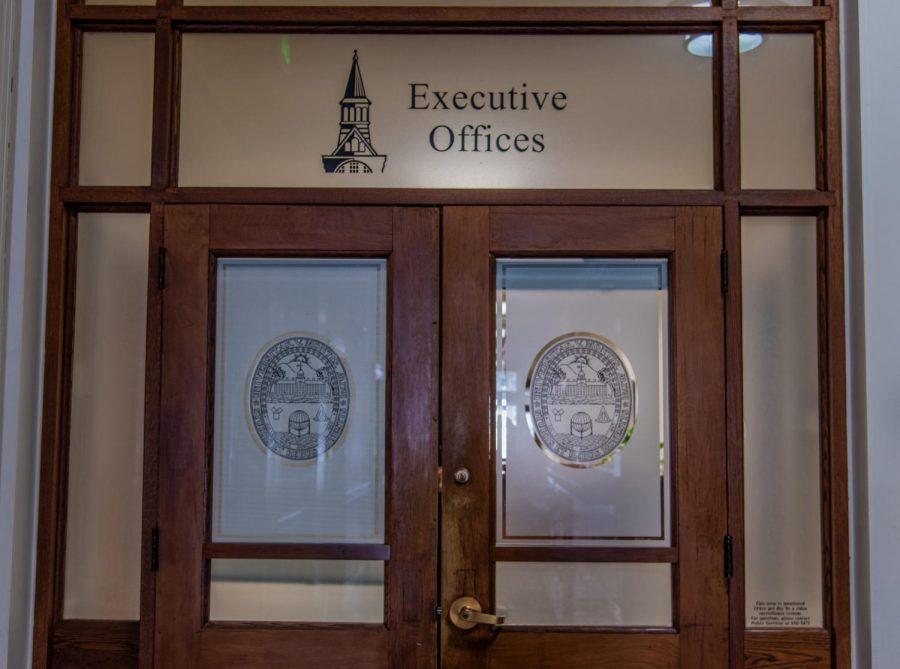 UVM's main financial office sits behind a locked door April 20.