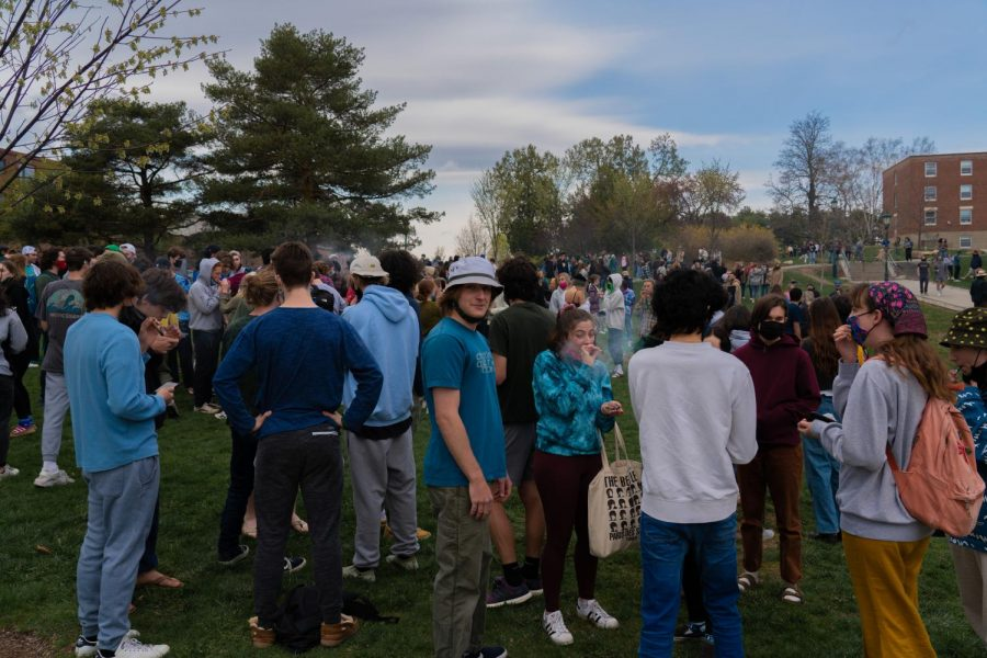 Students gather in large groups on the Redstone green to celebrate 420 April 20. It is a long-standing tradition for students to gather on the Redstone green on 420.