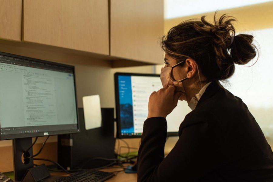 Al-Namee works in her SGA office April 7.