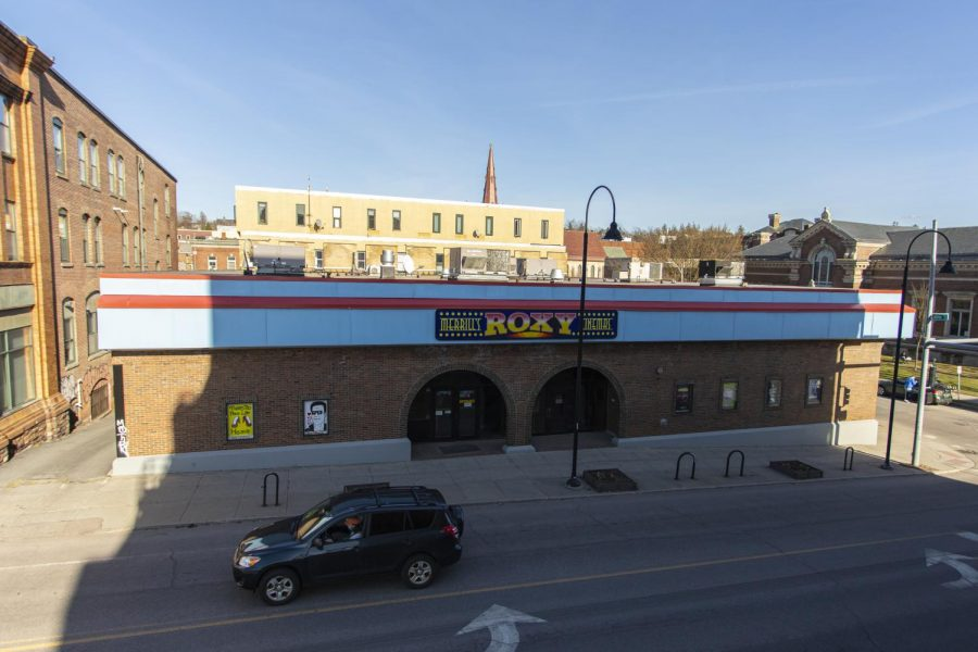 Merril's Roxy Cinema in downtown Burlington sits closed because of COVID-19 regulations April 8.