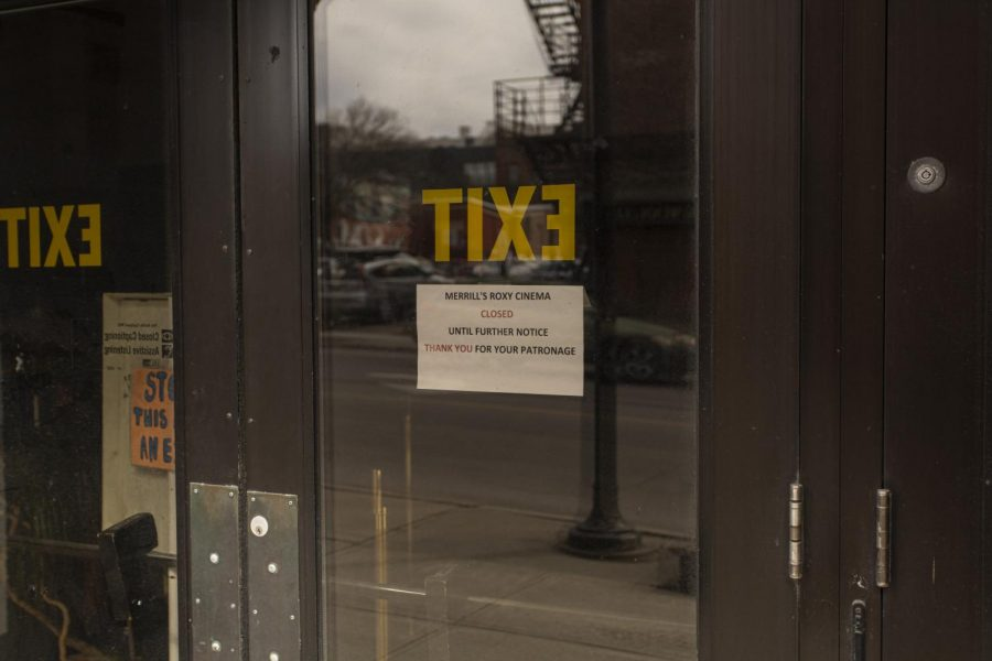 A sign on the Roxy's door states that the theater is closed until further notice April 2.