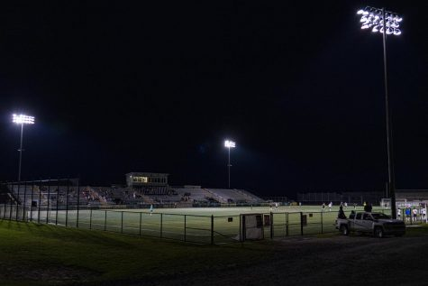 Virtue Field is illuminated while the Men's club soccer team plays a charity game May 8. All proceeds from the game were donated to Hope Works, a Chittenden County based organization that works with survivors of sexual assault and violence.
